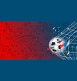 soccer ball on the net template for a text vector image vector image