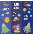 Space Theme Cartoon Web Banners Collection vector image vector image
