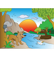 squirrel and fox watching snake on other side of vector image