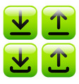 stylish green upload download buttons or generic vector image vector image