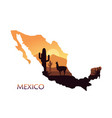 stylized landscape of mexico with a llama and vector image