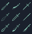 Swords knives daggers sharp blades flat icon set vector image vector image