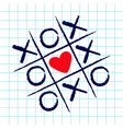 tic tac toe game with criss cross and red heart vector image vector image