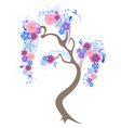 Vector flowering tree with blue flowers and bird vector image