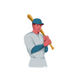 Vintage Baseball Player Bat Watercolor vector image vector image