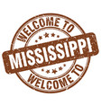 welcome to mississippi brown round vintage stamp vector image vector image