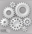 white 3d gears on the gray background infographic vector image vector image