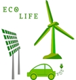 Windmill solar battery electric car - eco life vector image vector image