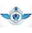 winged classy emblem heraldic coat arms vector image
