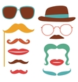 Party set with mustaches lips eyeglasses vector image