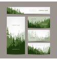 Business cards design with green forest background vector image
