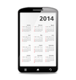2014 Calendar in Mobile Phone vector image vector image