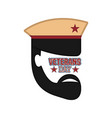 abstract soldier avatar veteran day label vector image vector image