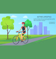 active lifestyle bicyclist vector image vector image