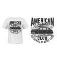 american old car t-shirt print mockup vector image vector image