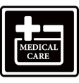 black medical care icon vector image