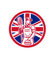 british professional cleaner union jack flag icon vector image vector image