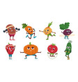 cartoon vegetables exercises healthy food vector image vector image