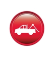 circular button with tow truck vector image vector image