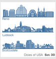 cities usa - reno lubbock scottsdale vector image vector image