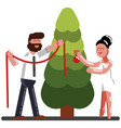 couple adorns a new year tree vector image vector image