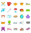 cozy icons set cartoon style vector image