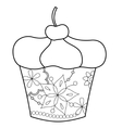 Cupcake coloring vector image vector image