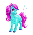 cute cartoon blue unicorn with pink hair vector image vector image