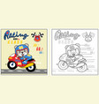 cute racer on motorbike cartoon coloring page or vector image