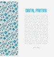 digital printing concept with thin line icons vector image vector image