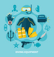 diving equipment round composition vector image