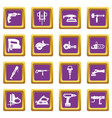 electric tools icons set purple vector image vector image