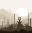 Fertilizers plant over blurred huge mountains vector image