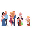 flat family characters hugging set vector image vector image