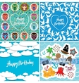 Funny colorful Happy birthday card set vector image vector image