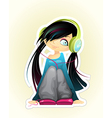 girl listen to music vector image vector image