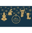 Gold Christmas pendants such as a bell with holly vector image vector image