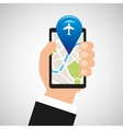 hand holds phone navigation app airport vector image vector image