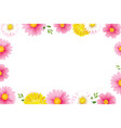hello spring season frame with blooming flowers vector image