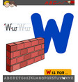 letter w educational worksheet with wall vector image