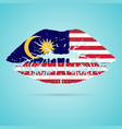 malaysia flag lipstick on the lips isolated on a vector image vector image