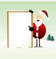 merry christmas happy santa claus holding a vector image vector image
