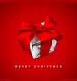 merry christmas realistic gift box with red bow vector image