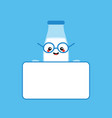 milk bottle character holding blank empty card vector image vector image