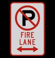 no parking fire lane double arrow sign vector image vector image