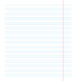 notebook page template with lines vector image vector image
