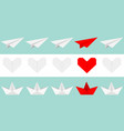 origami paper plane boat ship heart icon set gray vector image