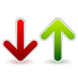 red green down and up arrows growth decline raise vector image vector image