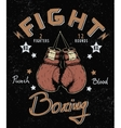 Retro label with boxing gloves vector image vector image