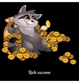Rich Raccoon awash in money black background vector image vector image